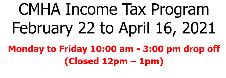 Volunteer Income Tax Program – Feb 22 to Apr 16 2021